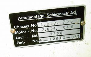 Plaque identification Karmann Ghia Montage Suisse